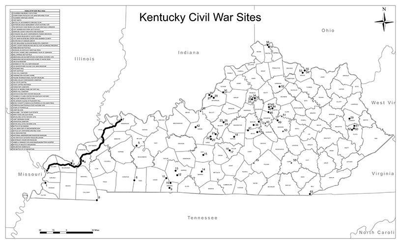 The Kentucky Civil War Bugle  Kentucky Civil War Sites List and Map